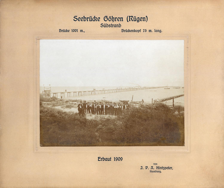 Seebrücke Göhren auf Rügen - 1909 - historisches Foto von F+Z Hamburg