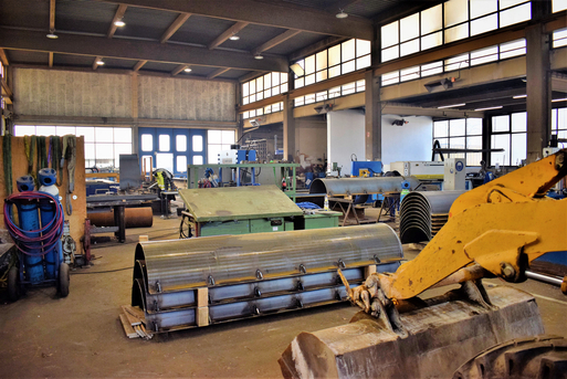 Interior view of the steel construction workshop