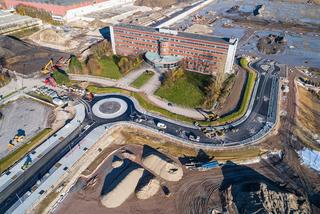 Kanal- und Straßenbauarbeiten, Kreisel auf dem ehemaligen Opel-Gelaende