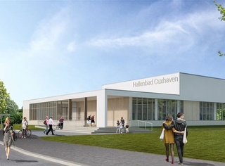 [Translate to English:] Neubau des Hallenbads Cuxhaven