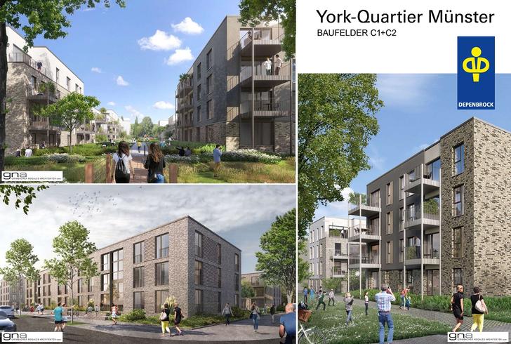 drei Ansichten der York-Quartiere Muenster
