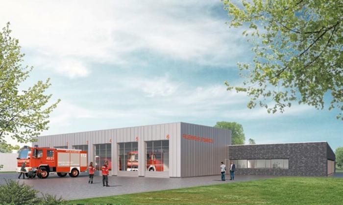 Visualisierung Fahrzeughalle mit Feuerwehr