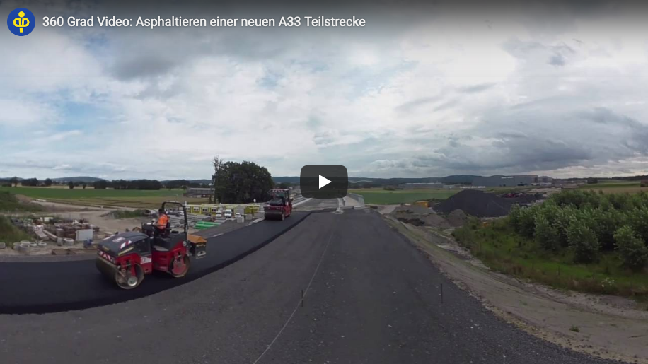 360 degree video: Asphalt works at a new section of the A33