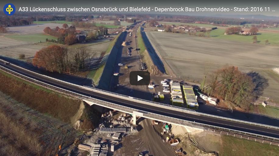 A33 Lückenschluss zwischen Osnabrück und Bielefeld - aufgenommen per Drohne