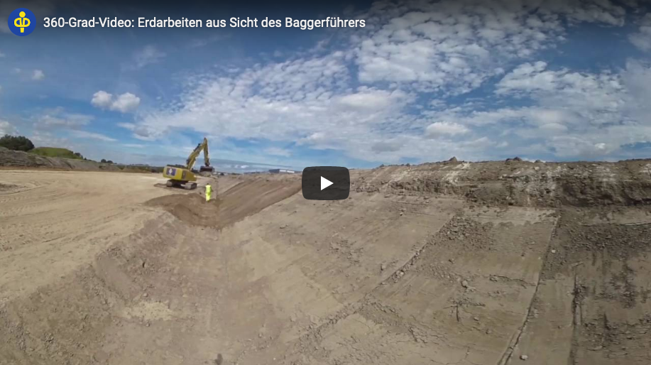 360 degree video: Earth works at the motorway A33 from the perspective of the excavator operator
