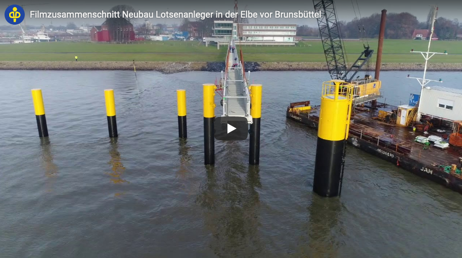 Film clip of the new pilotage pier in the Elbe before Brunsbüttel